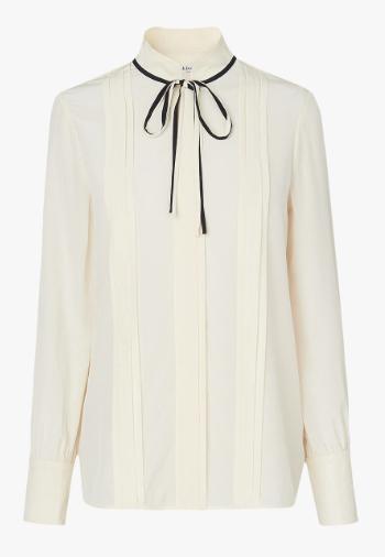 LK Bennet tie neck cream silk blouse