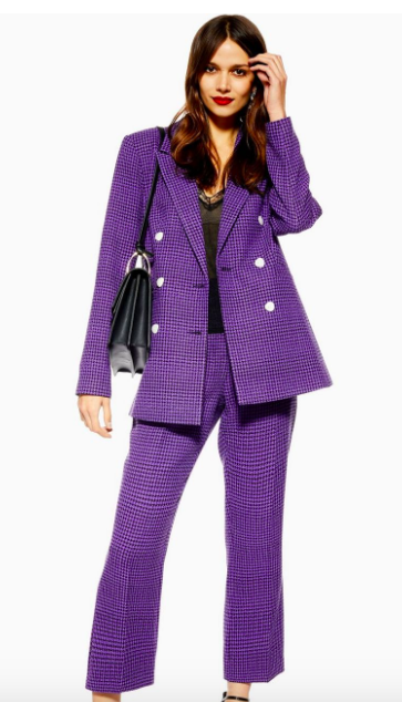 Topshop heritage check suit with kick flare trousers