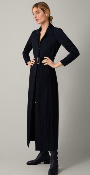 Black a line dress with side pleat detail and belt - Massimo Dutti