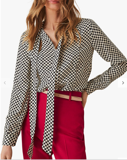 Reiss checked blouse  to wear with matching skirt below or as a separate piece.
