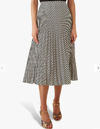 Reiss pleated check skirt