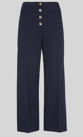 Whistles Navy Cropped Wide Legged Trousers