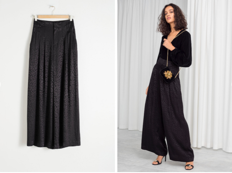 & Other Stories Satin Leopard Jacquard Trousers