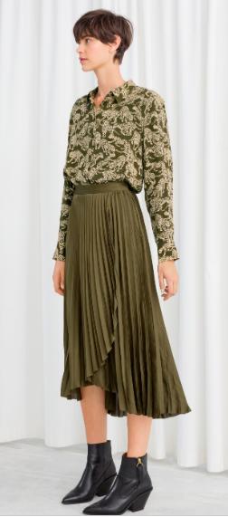 Stories khaki satin midi skirt and panther blouse