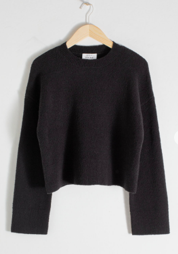 Stories cropped black sweater. Also good with high waisted trousers or jeans.