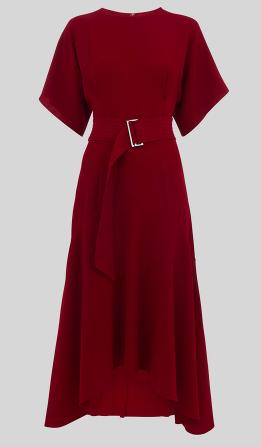 Whistles belted burgandy midi dress