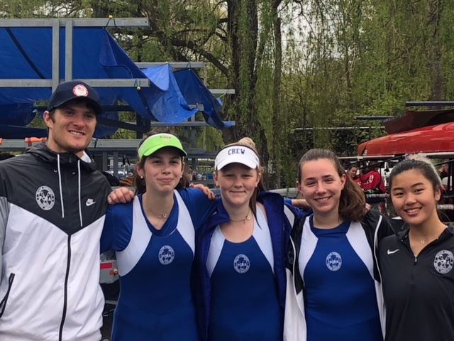 Coach Henrik Rummel, Kathryn Alexander, Molly Bidwell, Maya Spunberg and Willow Adler 2018
