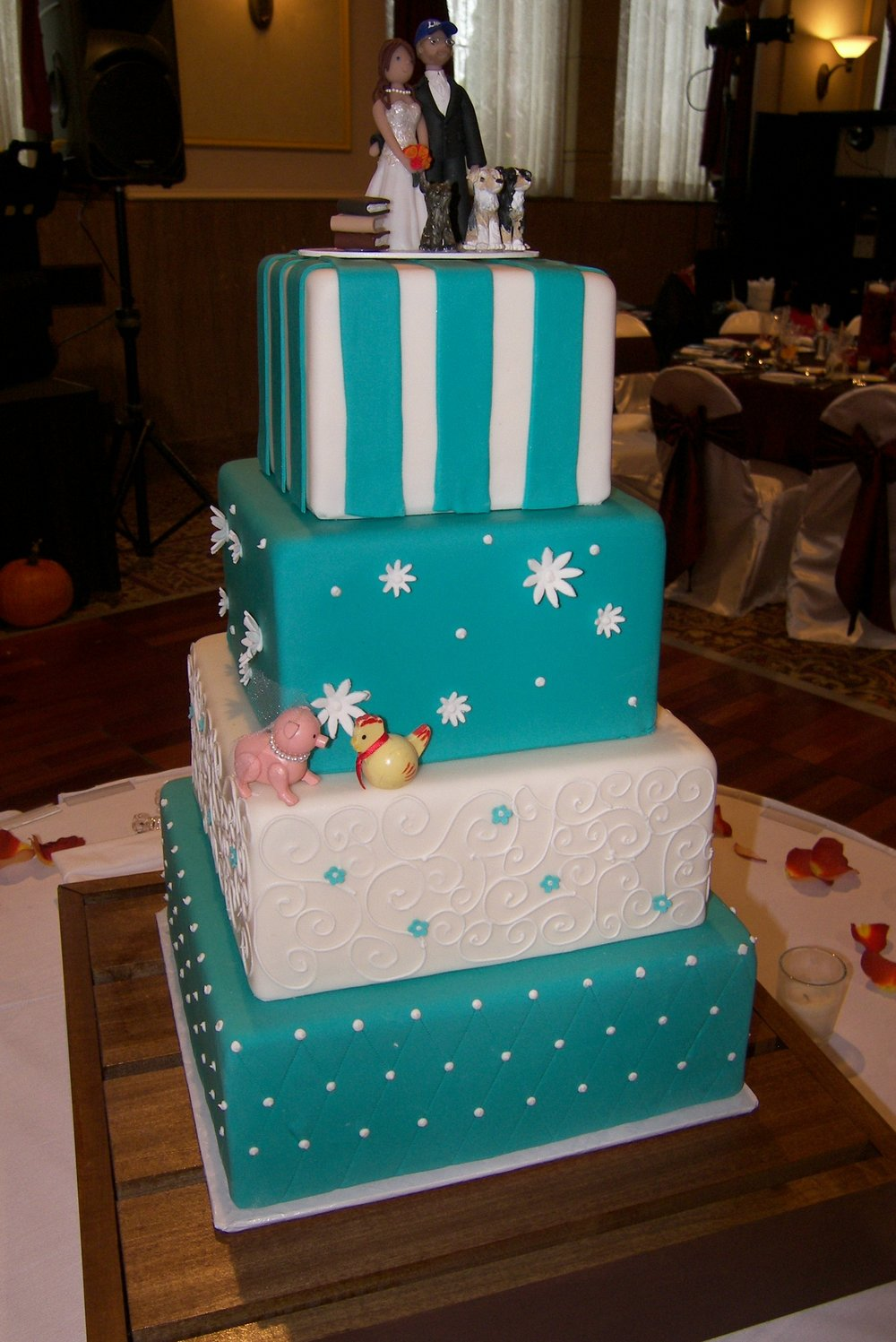 Square Aqua & White Cake