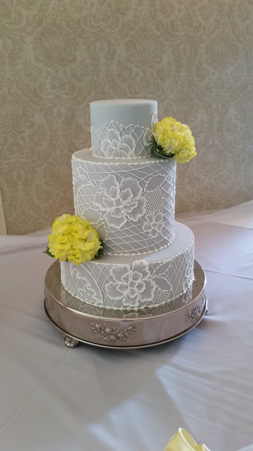 Grey Fondant with Brushed Flowers