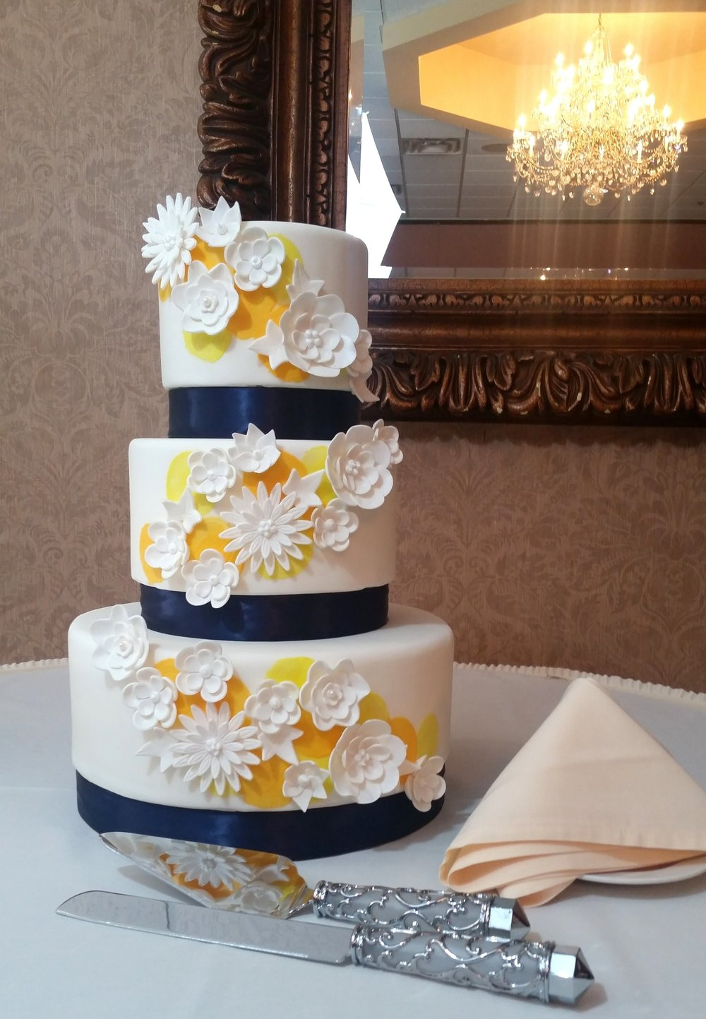 White Flowers w/ Yellow and Navy Blue