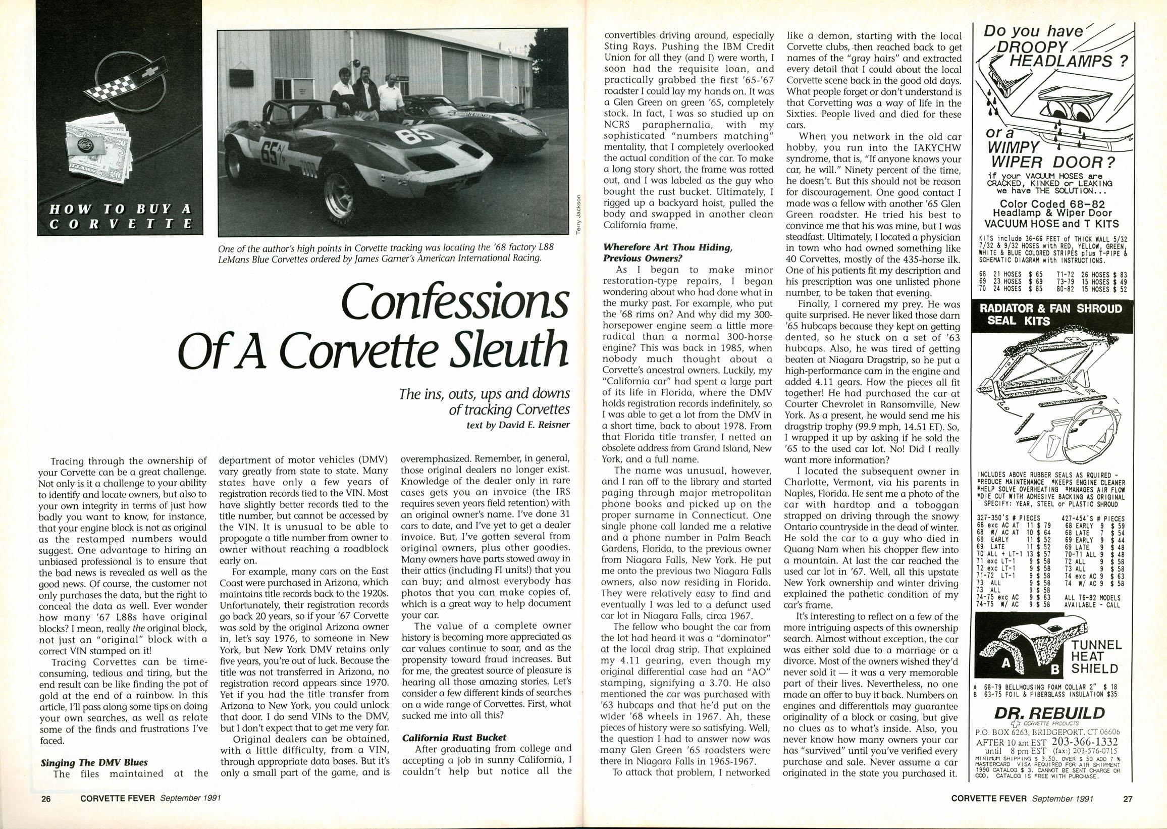 Corvette Fever September 1991: Confessions Of A Corvette