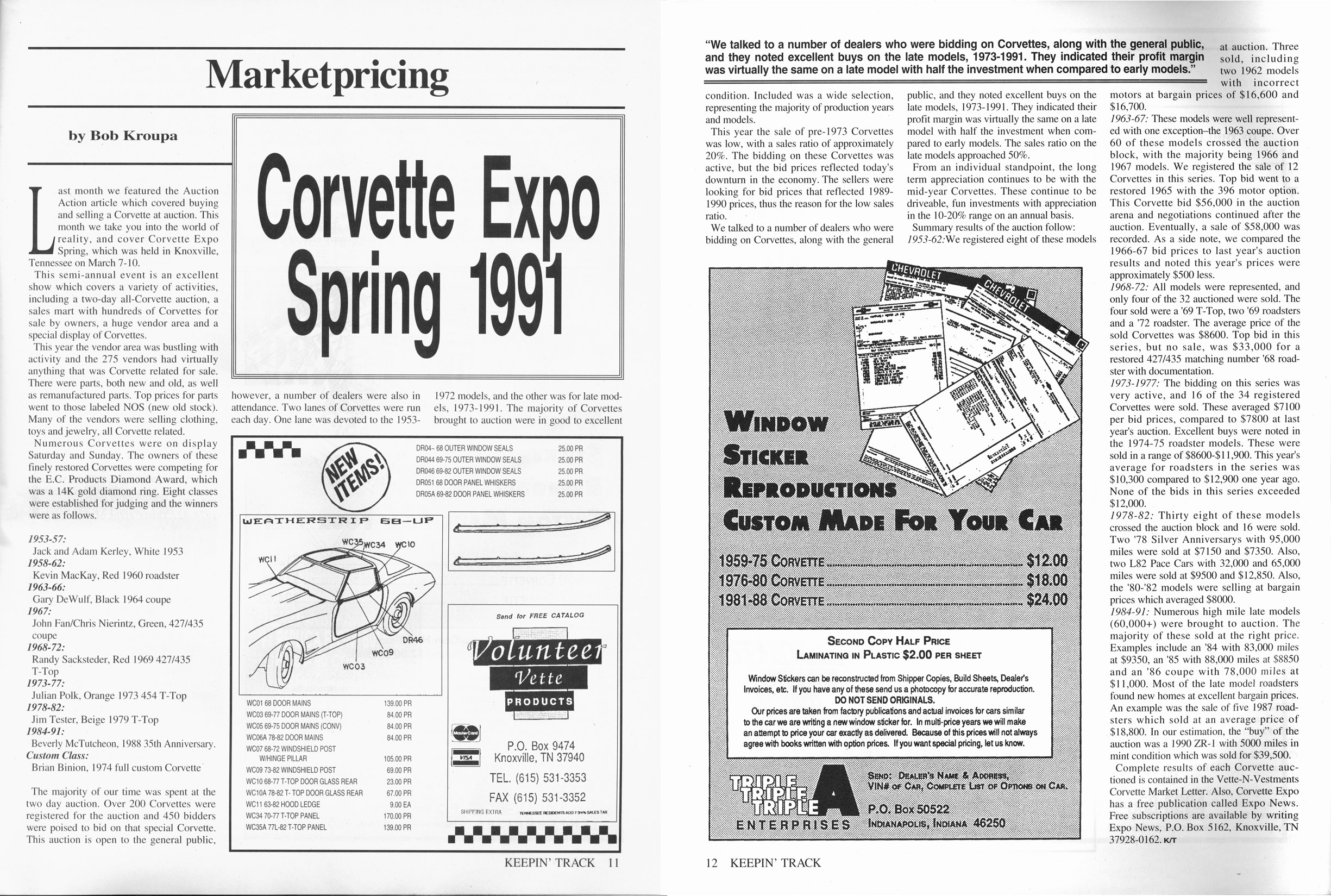 Keepin'Track Vettes July 1991: Corvette Expo Spring 1991