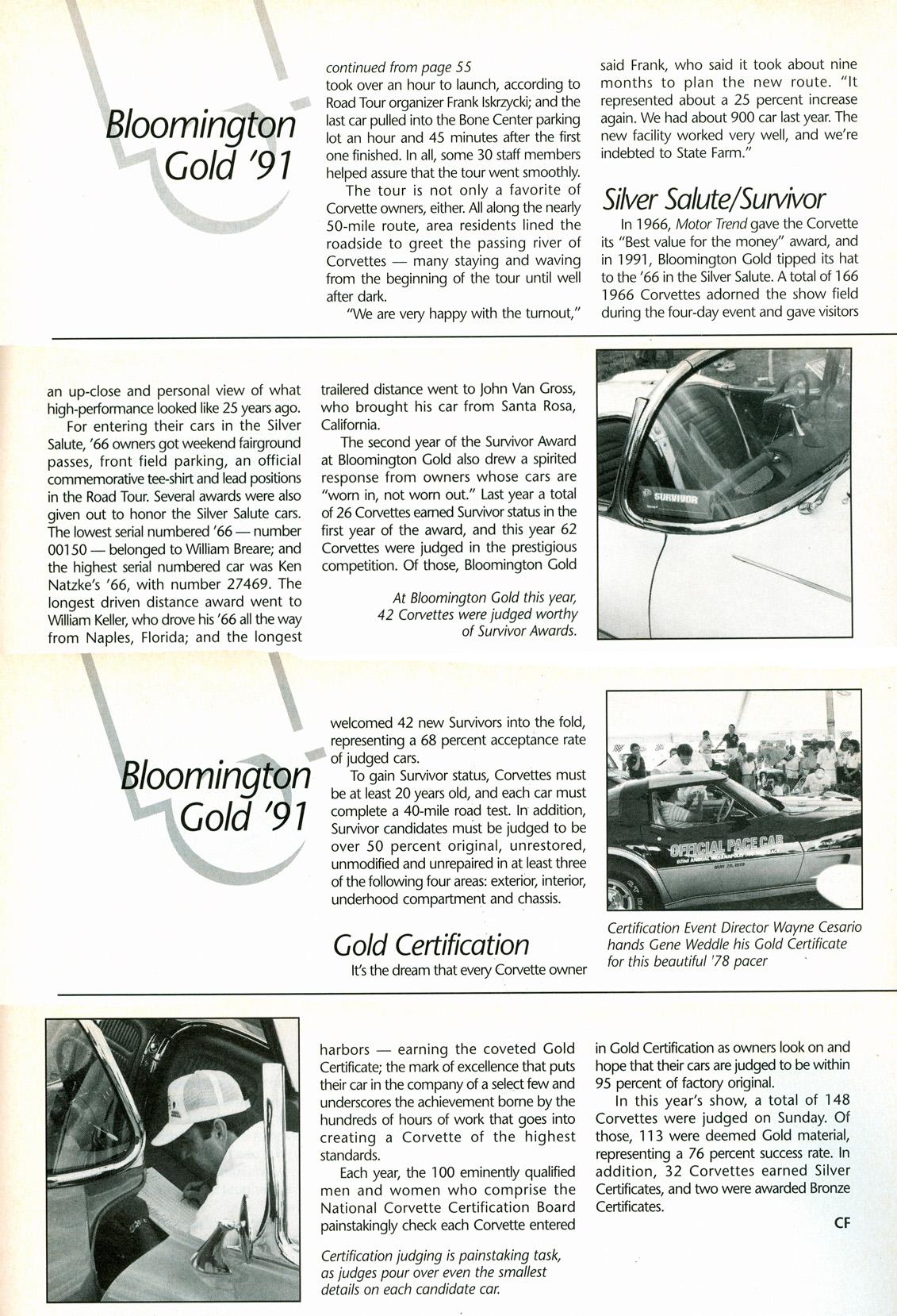 Bloomington Gold '91   Corvette Fever November 1991 Issue