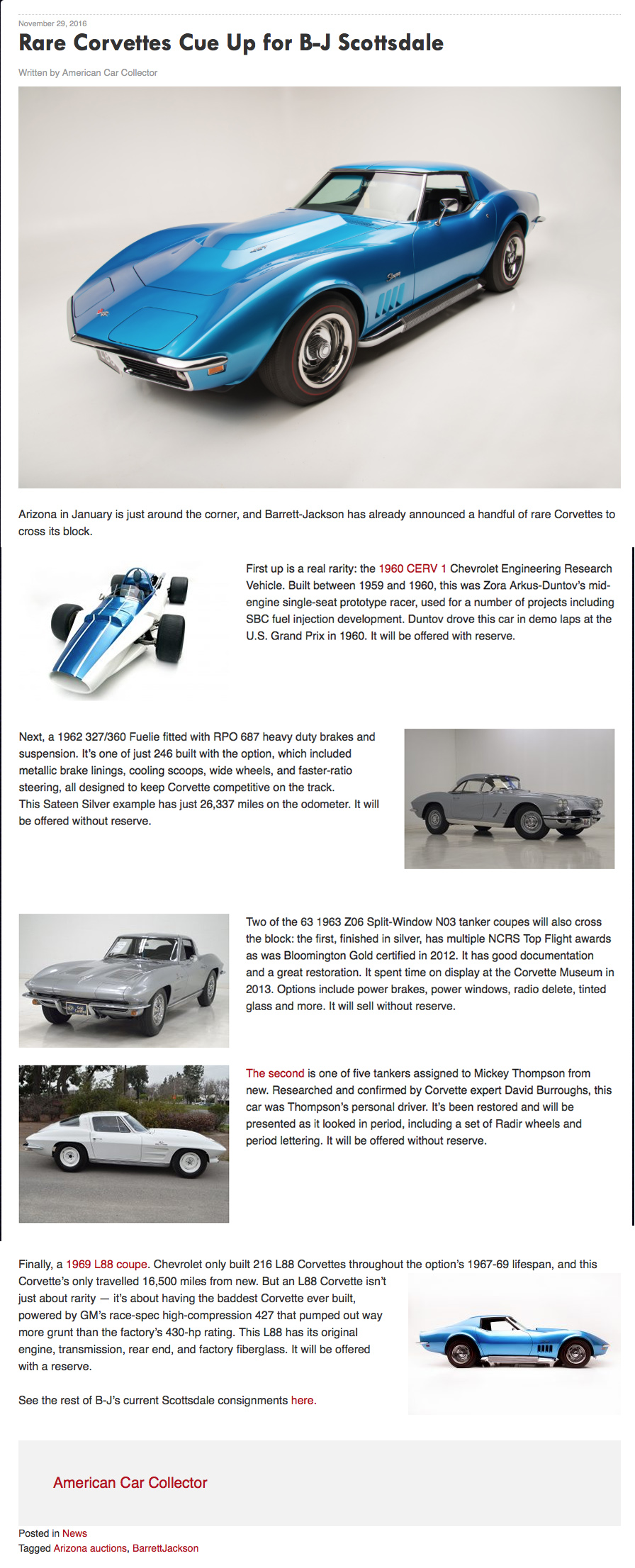 American Car Collector Nov 29, 2016: Rare Vettes Cue Up For
