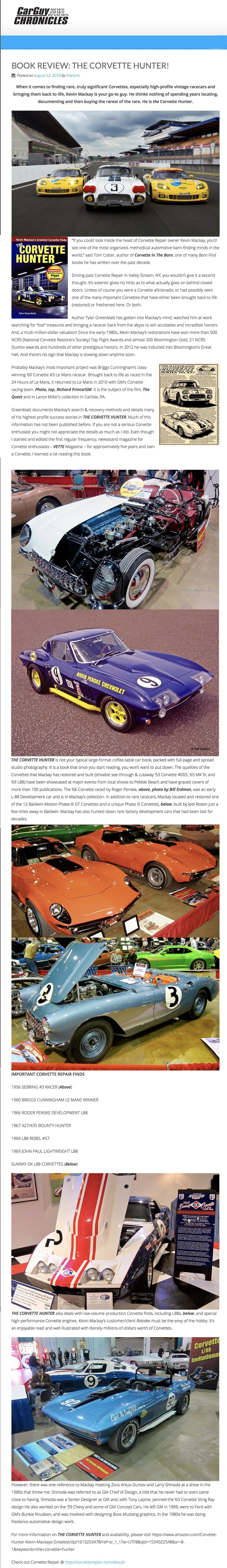 One Owner Car Guy >> Car Guy Chronicles 8 12 18 Book Review The Corvette Hunter
