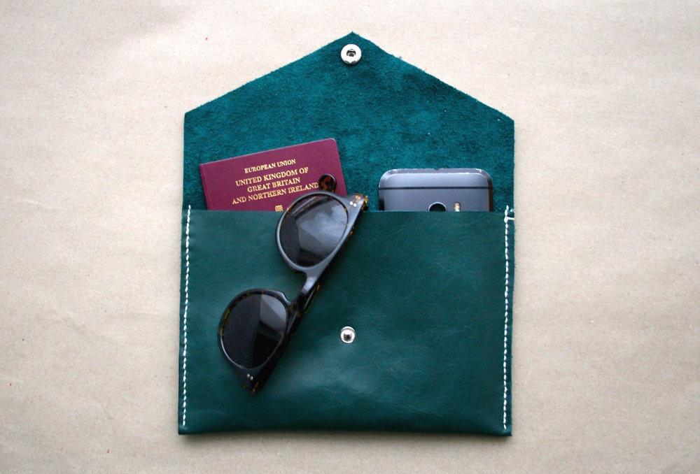 Juta Green Leather Clutch Open.jpg