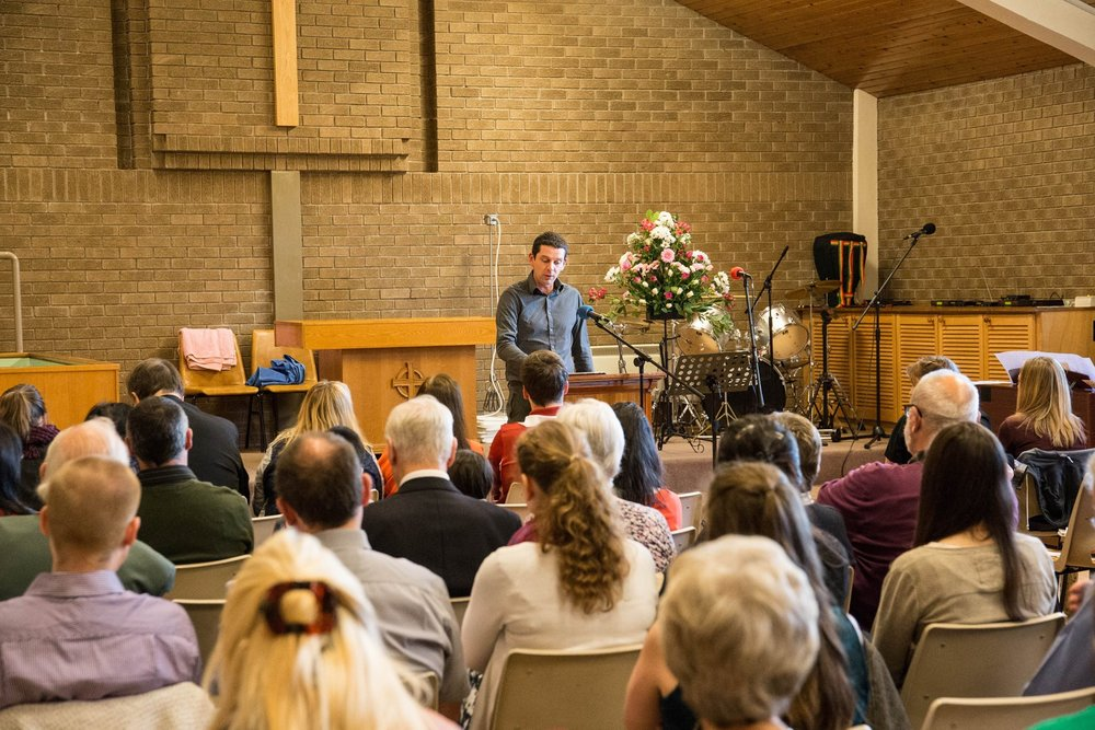 A recent baptism service held at Dalkeith Baptist Church building.