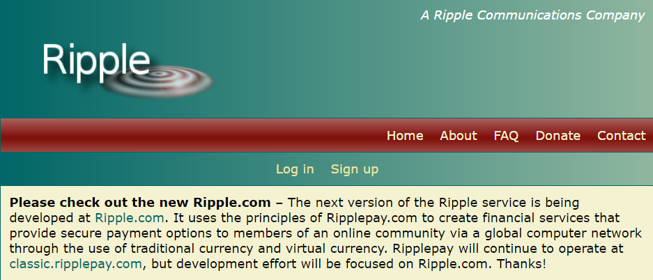 The original site for Ripple ( Image Credit -    RipplePay  )