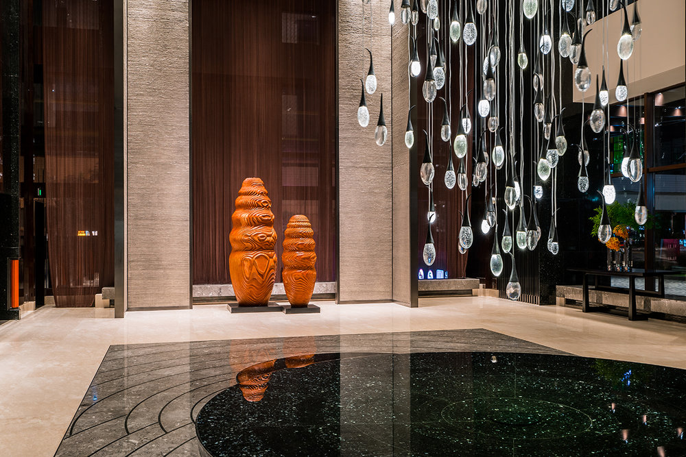 Waters Mingle I & II (2017) . Collaboration with Urban Art Projects (UAP), fabricated in Shanghai for the Global Harbor Regency Hyatt Hotel. Photo: Rex Zou