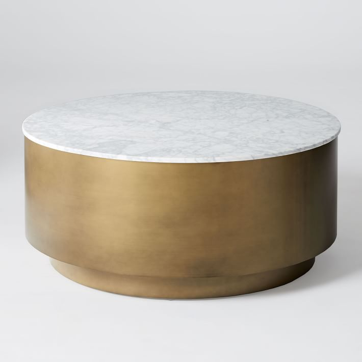 Marble + Metal Drum Coffee Table