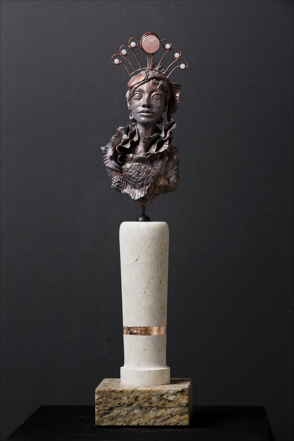 Force of Nature-Balance - She is a Force of nature. Bringing all things back into equilibrium, Balance brings clarity.Polymer clay, epoxy clay, marble, granite, copper, rose quartz20