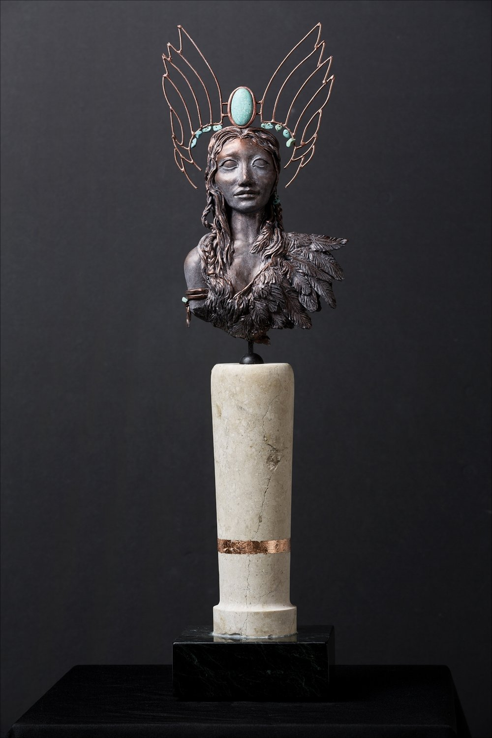 Force of Nature-Freedom - She is a Force of Nature. Untethered by her humanness, Freedom ascends.Polymer clay, epoxy clay, marble, granite, copper, turquoise21