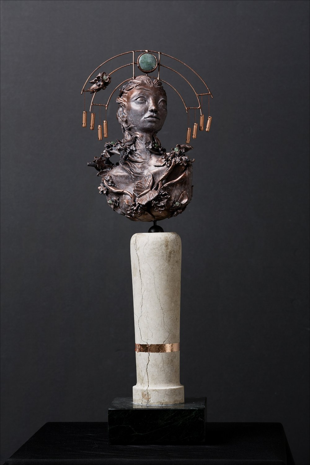 Force of Nature-Change - She is a Force of nature. She assumes the properties of wind to influence change.Polymer clay, epoxy clay, marble, granite, copper, aventurine, jade20