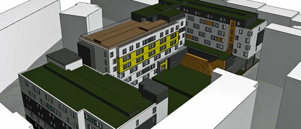 Sandakerveien 76 - Oppdragsgiver: Betonmast400 studenthybler for Anker Studentbolig, KIWI-butikk.Vår entreprise: Sanitær, varme, sprinkler