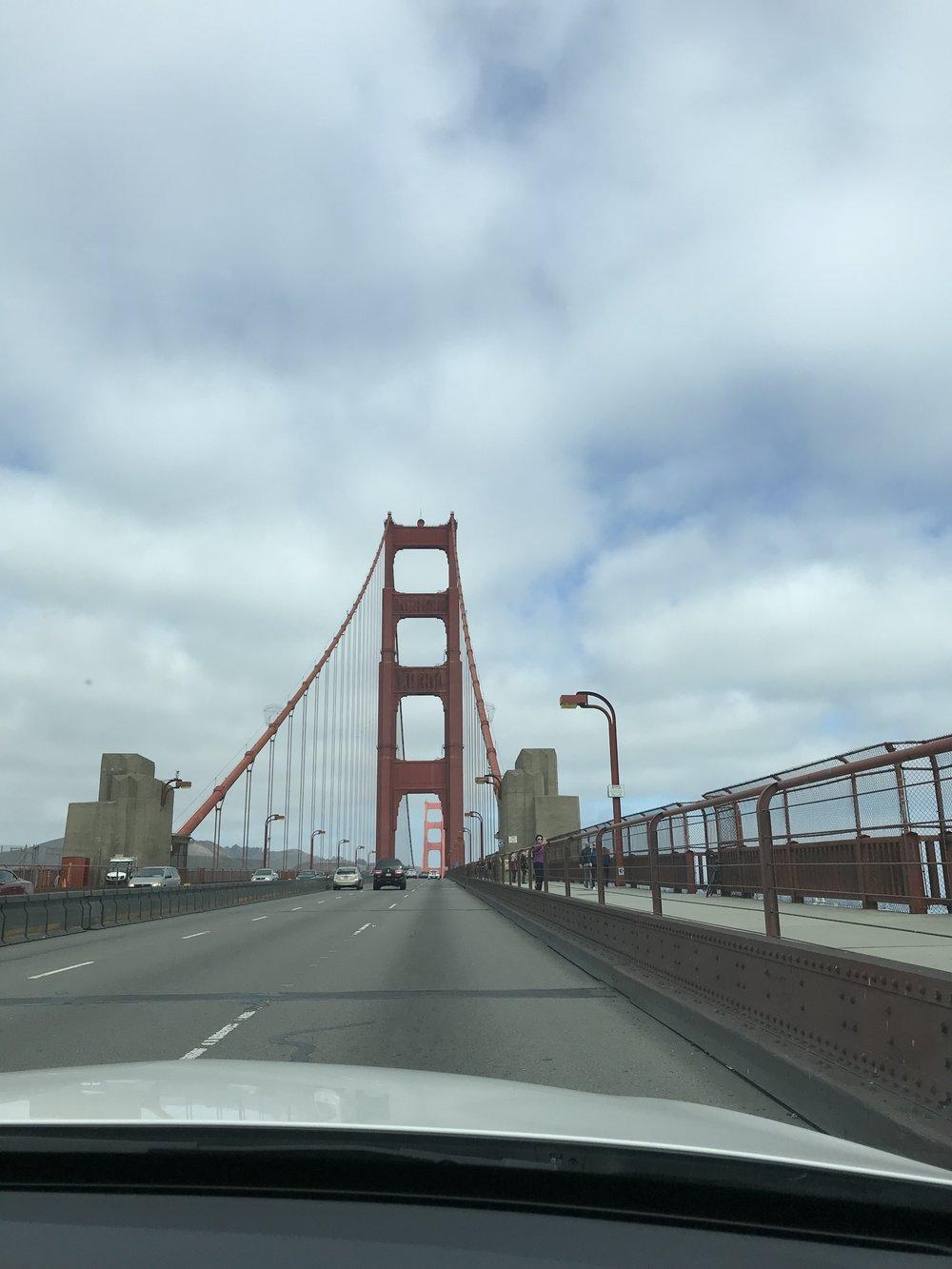 Driving over Golden Gate bridge