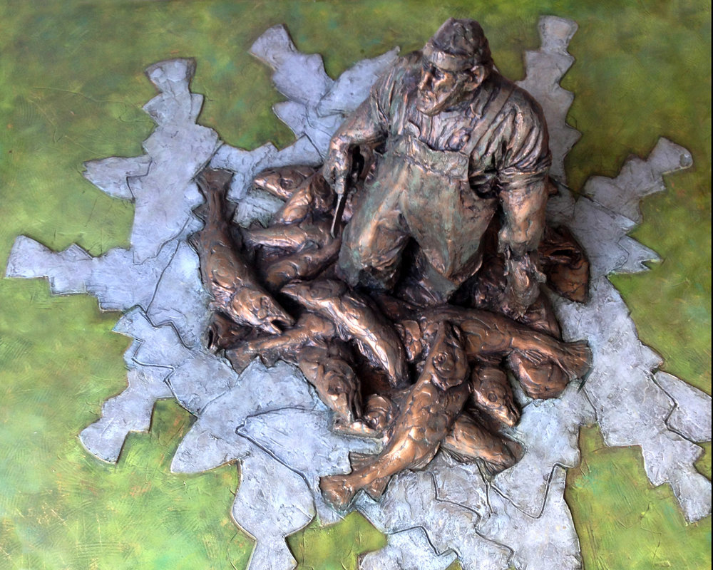 Fisherman's Memorial - When the city of New Bedford, MA, was looking for a design for a memorial honoring the countless fishermen who have called New Bedford their home, Sarah proposed this design and was selected as a finalist. The design encompasses the strength, fortitude and perseverance of the men and women of the trade, while providing a tranquil and powerful setting for contemplation. The fisherman awaits an invitation to be cast full size for a suitable public space.