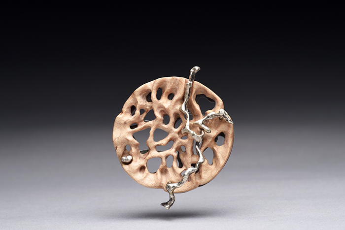 Into the Woods brooch, 2016 Maple wood, sterling silver, steel pin
