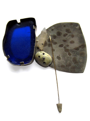 Forerunner  Brooch (2016) 925 Silver, Bronze, Gold, Copper, Enamel, Beach Glass, Quartz, Antler, Steel
