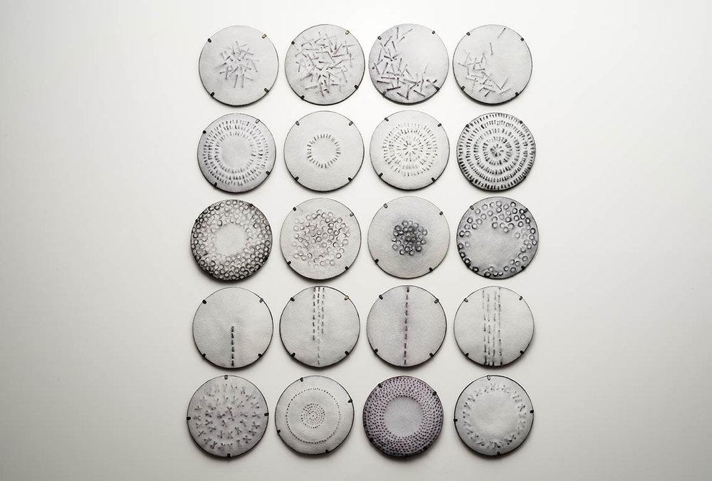 Memoria Series  (2016) Sterling silver, copper, enamel, liver of sulfur patina, steel pinstem
