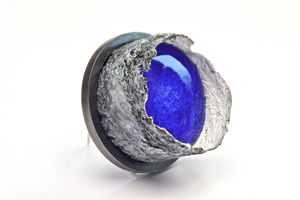 Celestial Blue  Oxidized sterling silver, wood, gauze & handmade paper, paint, resin