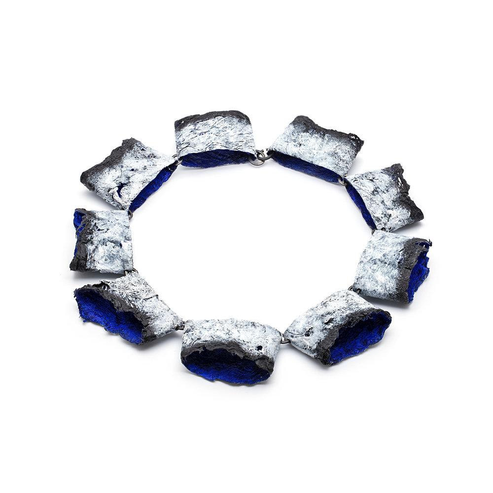 Balancing Blue  Gauze & handmade paper, paint, oxidized sterling silver