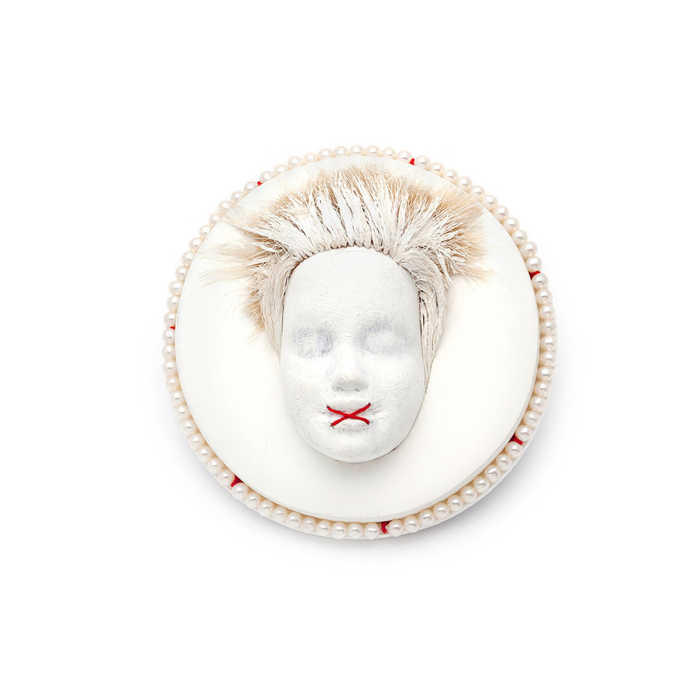 Assia Linkovsky  X-Rated   Wood, doll part, paint, pearls, thread