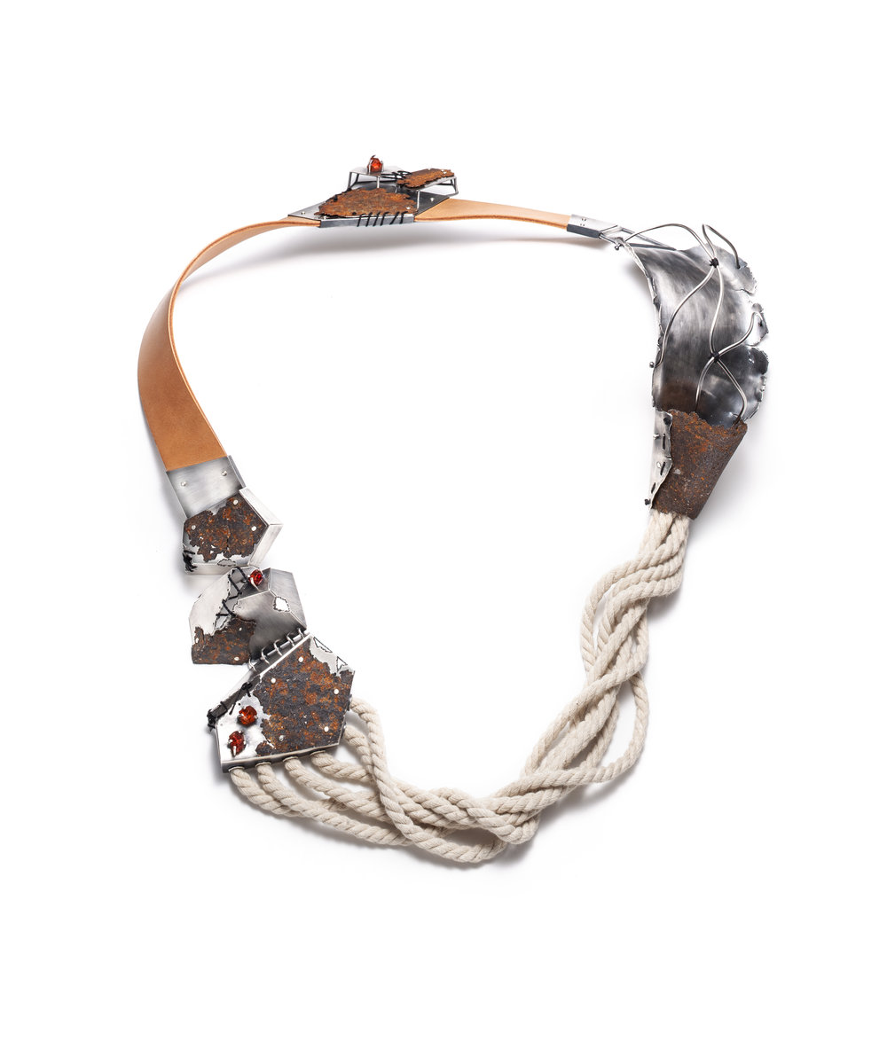 Justine Bonnin  Étreintes à Manéa  Neckpiece (2018) Rust, sterling silver, spessartite garnet, cotton, leather