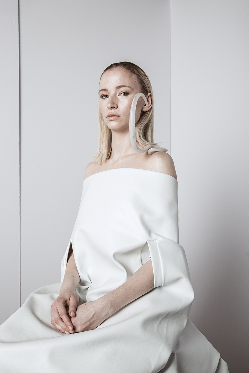 Michaëlle Brodeur-Paulin  Equilibrium  Series (2018) Earring, Handpiece,Headpiece Plastic, silver, cubic zirconia Image credit:Sam St-Onge