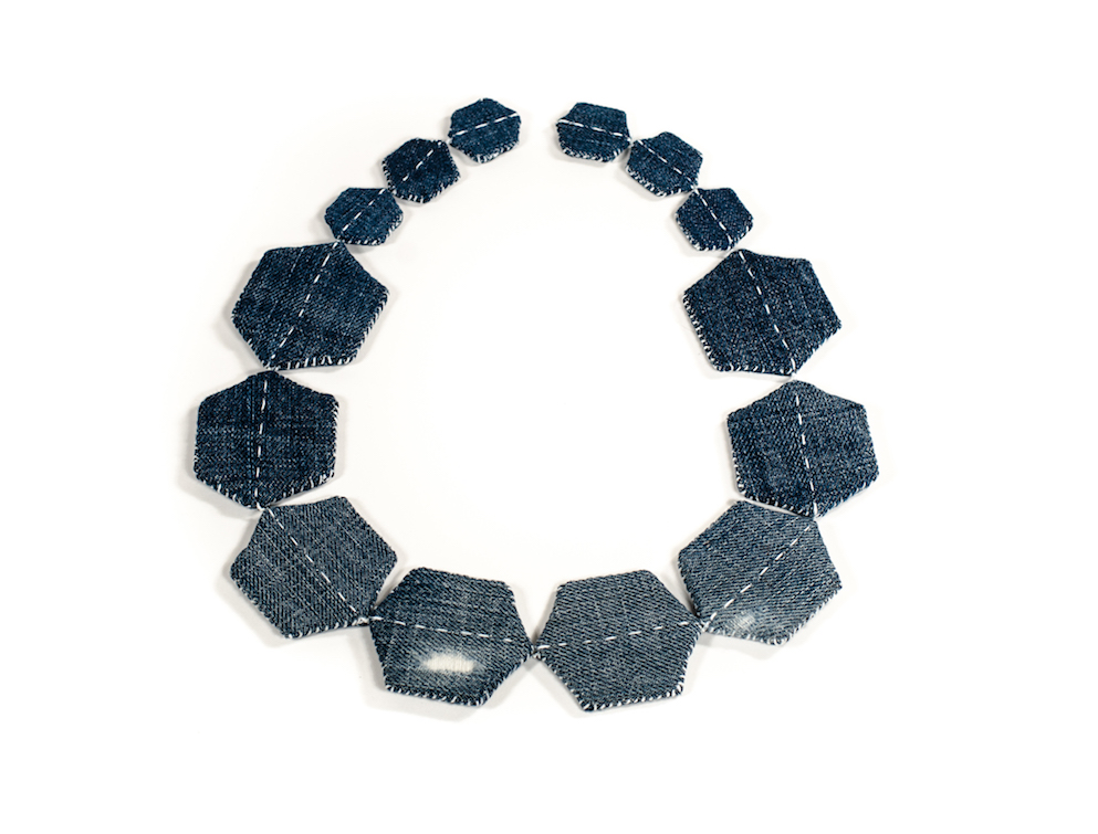 Patched Necklace  (2018) Denim, styrene, magnets, hand sewn Image by the artist