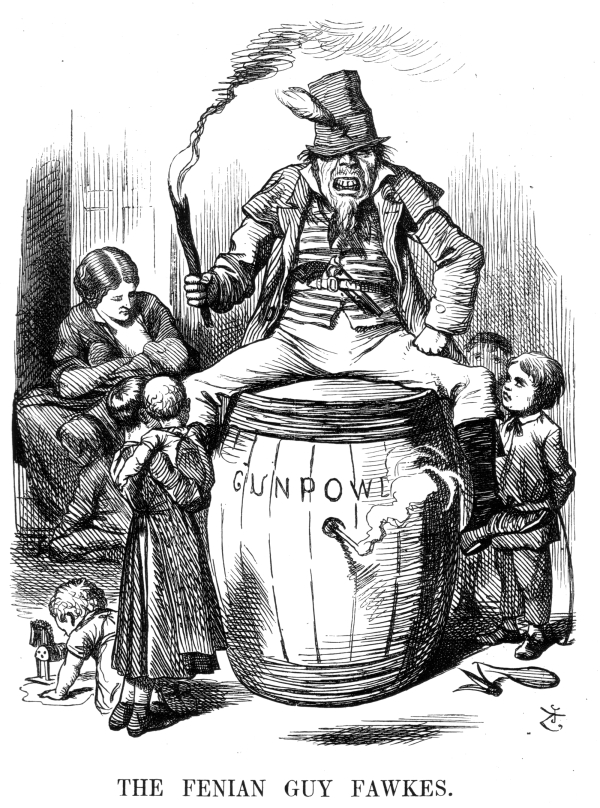 Anti-Irish propaganda from  Punch  magazine, published in December 1867. It shows an Irish catholic sitting on a keg of gunpowder, alluding to the Guy Falks plot to kill the King and blow up Parliament.