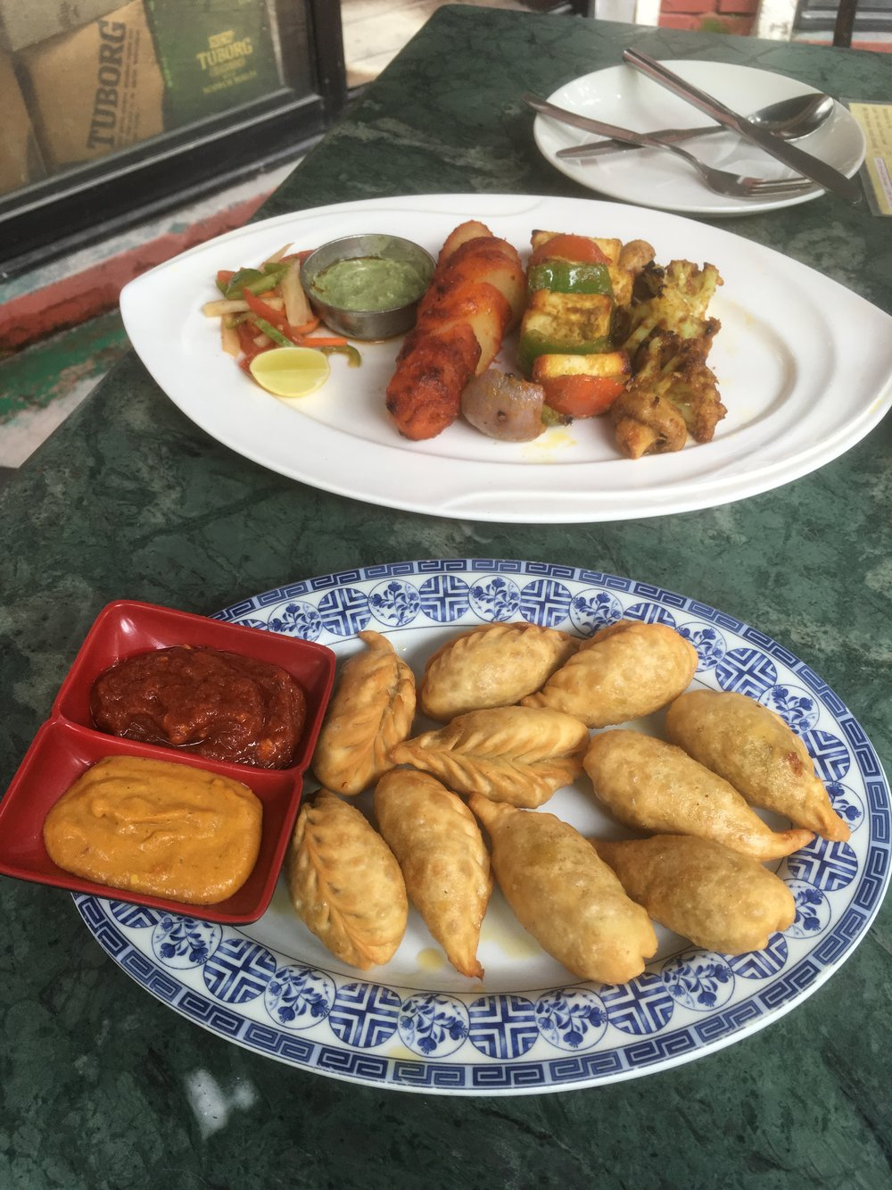 Our fantastic lunch of fried momo and veg