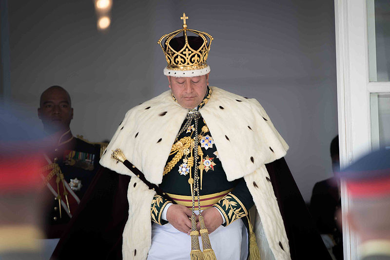 King Tupou VI exits the church after his coronation ceremony in Nuku'alofa, Tonga, July 4, 2015.