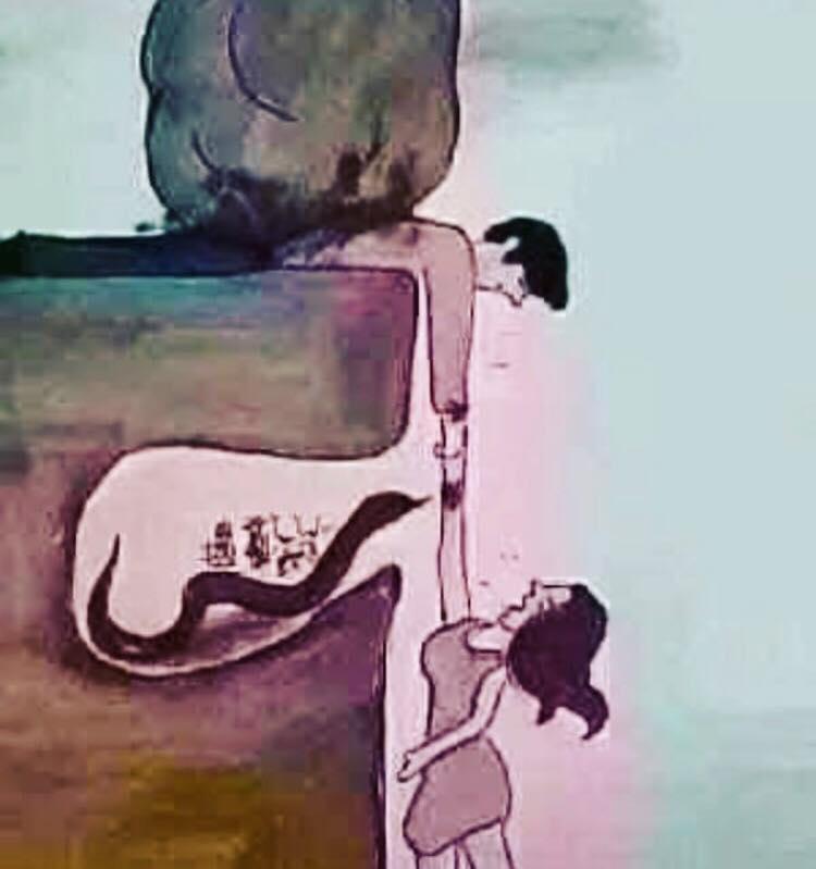 El que está destrozado bajo la piedra soy yo. La serpiente suele ser un hombre tóxico que les está haciendo mucho daño. Y la mujer a la que trato de ayudar, suele ser una lectora.