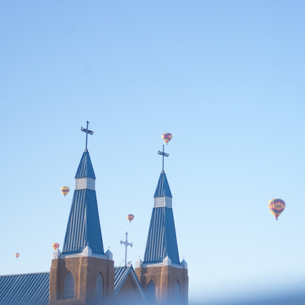 The Albuquerque skyline becomes polka dotted with hundreds of helium balloons for the weeklong event.