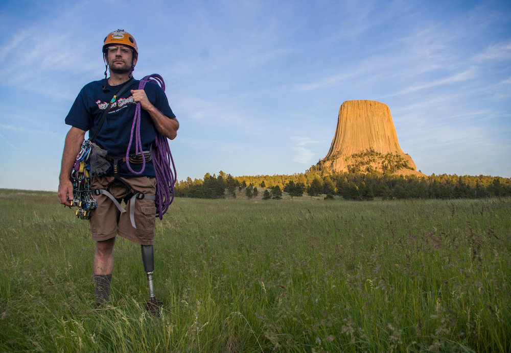 "David ""Dave"" Klar lost his leg in 2012 when a drunk driver rear ended his motorcycle. He only took up climbing afterwards. Devils Tower was one of his first major multi-pitch climbs."