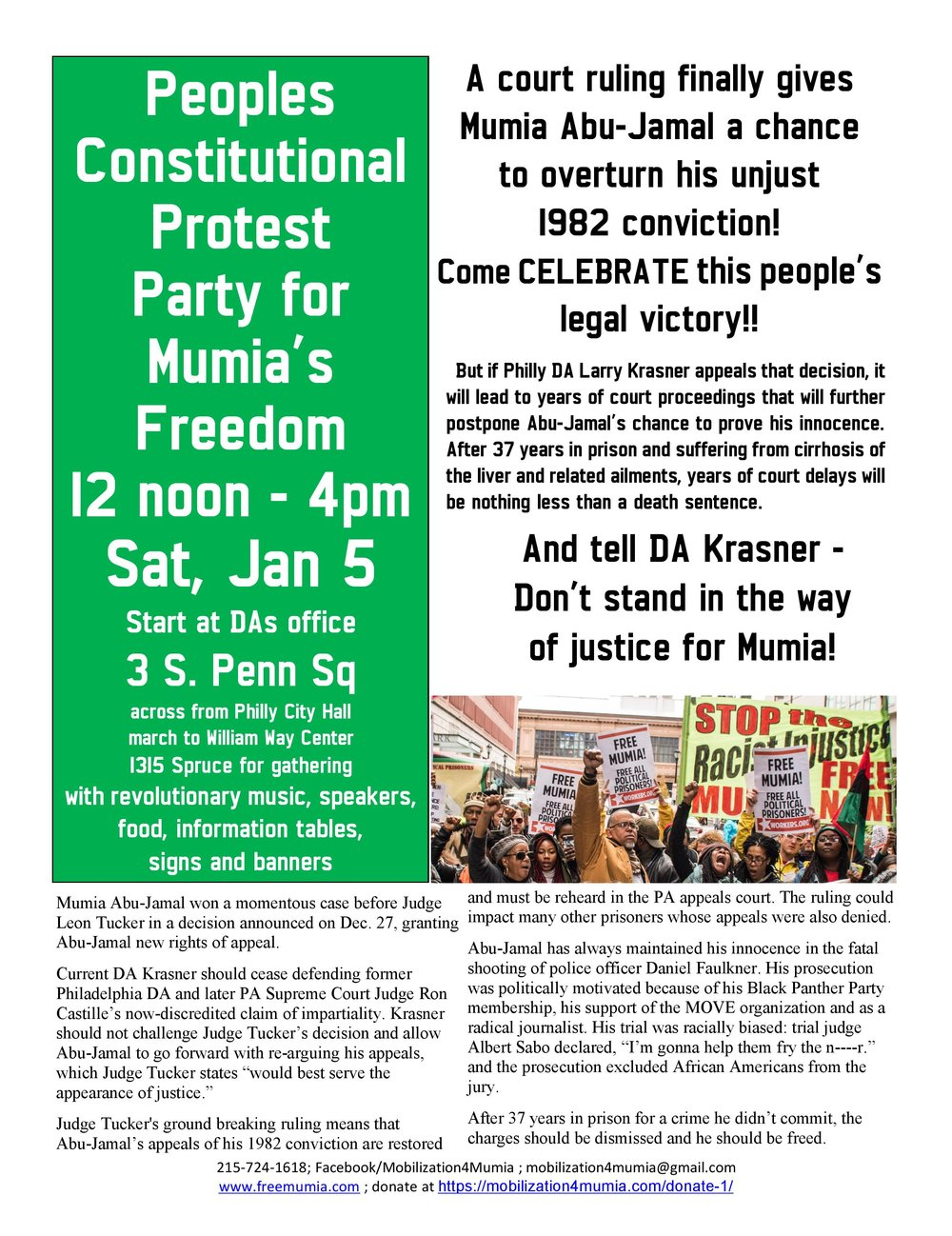 Free Talk Monday January 26th Agreeing >> Events Mobilization 4 Mumia Abu Jamal