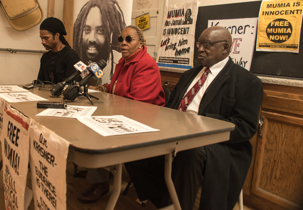 Jan 15, 2019 Press Conference  L to R: Mike Africa Jr, Paula Pebbles, Deacon Matthew Snith