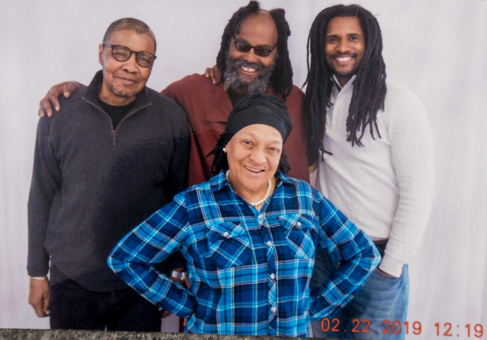 (Front) Pam Africa; Back: Keith Cook, his brother Mumia Abu-Jamal, Mike Africa Jr at SCI Mahanoy Feb 22, 2019