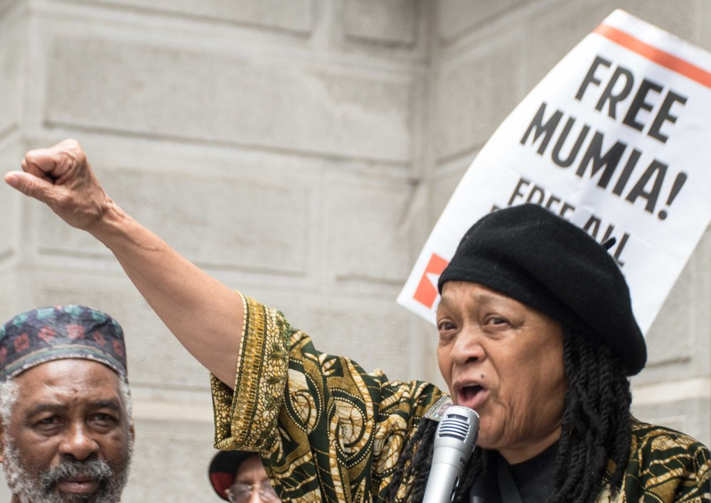 Philadelphia, Apr 18, 2019 - Press Conference for Mumia Abu-Jamal. Pam Africa (photo credit: Joe Piette)