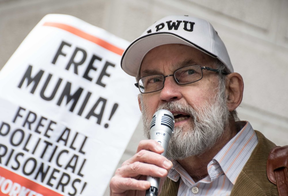 Philadelphia, Apr 18, 2019 - Press Conference for Mumia Abu-Jamal. Bill Bachmann, APWU (photo credit: Joe Piette)